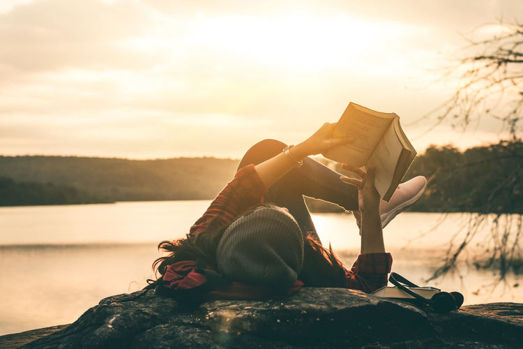 Read Travel Beauty In Nature Book Nature Outdoors People Read A Book Relax Sky Sunset Women Young Women