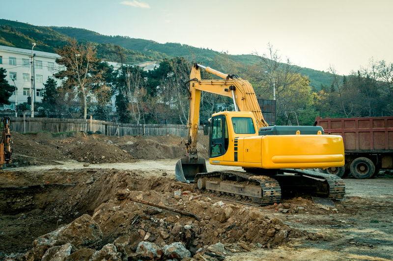 Yellow Bulldozer At Construction Site