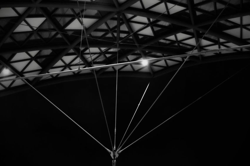 Black And White Built Structure Architecture Low Angle View No People Illuminated Outdoors Night Architectural Detail Ceiling Building Exterior FUJIFILM X-T10 XF18-55mmF2.8-4 R LM OIS F/3.6 ISO 6400 1/17 Sec via Fotofall