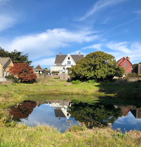 Mendocino County Built Structure Water Sky Plant Building Exterior Cloud - Sky Reflection Tree No People Building Lake Residential District Waterfront Nature Day Growth Outdoors House