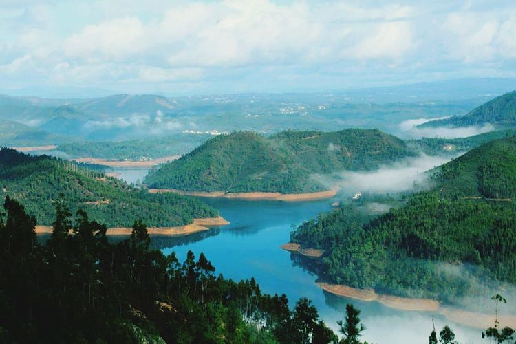 Zezere River Rivercurves Riversides Bluelake Portugal Blue Water Blue Sky Nature Ferreira Do Zezere Nature_collection View From The Top Top Of The Mountains