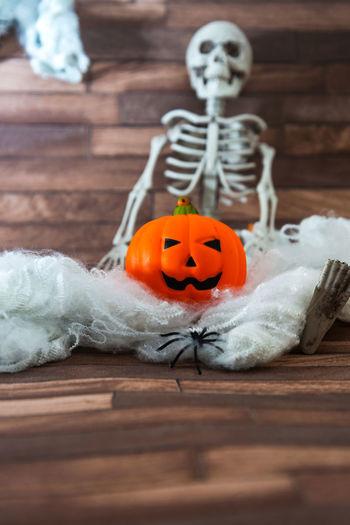 Halloween decoration on wood