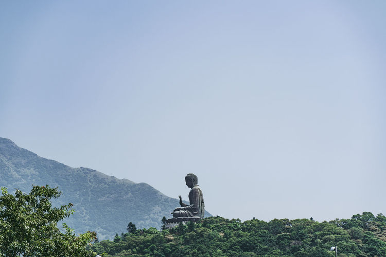 Buddha statue and trees against clear sky