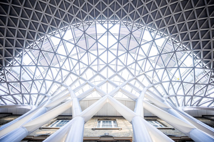 Architecture Architecture And Art Built Structure Ceiling Day Design Directly Below Dome Geometric Shape Glass - Material Indoors  Low Angle View Metal Modern No People Pattern Roof Shape Skylight Transportation Travel The Architect - 2018 EyeEm Awards