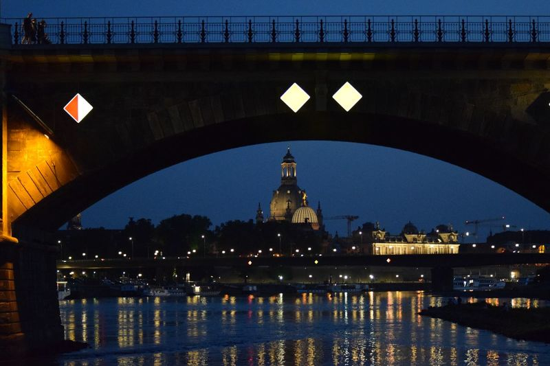 Dresden Elbe Architecture Illuminated Built Structure Water Building Exterior City Night Bridge