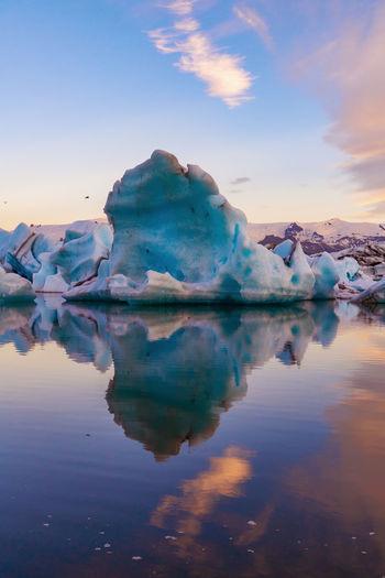 Icebergs On Frozen Lake At Jokulsarlon Glacial Lagoon