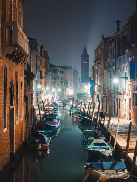 Night time in Venice is the perfect time to escape the tourists and have the city to yourself. It's especially magical when the fog rolls in. Week On Eyeem Venice Venice, Italy Night Long Exposure Close-up Italy Italia Travel Travel Destinations Australian Photographers Nautical Vessel Architecture Outdoors No People Tourism Nature Transportation Sky Illuminated