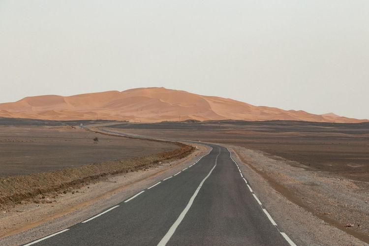 Empty Road In Desert Against Clear Sky