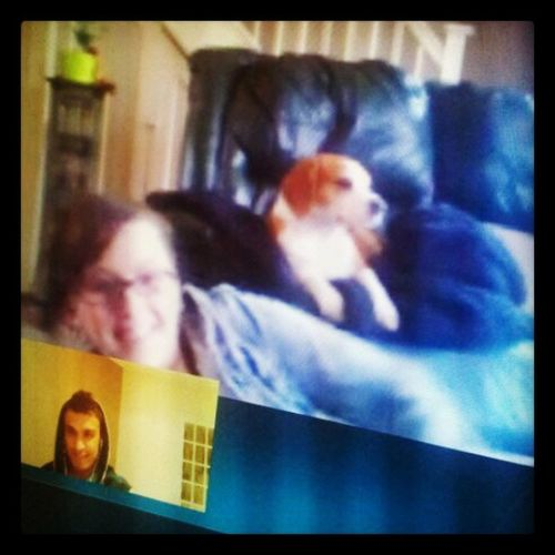Skype with my Fiancee and her Cute Dopey beagle tilly.
