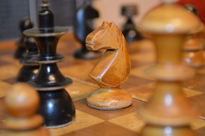 Black Brown Cavalry Chess Chessboard Chessmen Light Selective Focus Table Wood Wooden