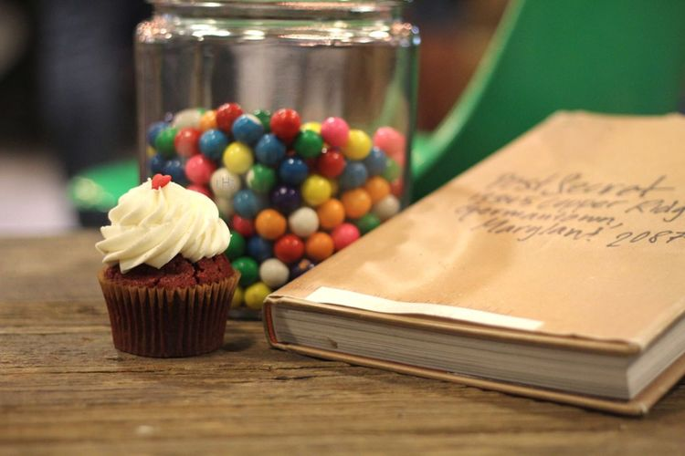 Close-up of cup cake on table