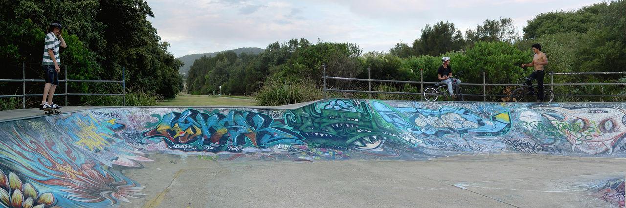 AVALON SKATE PARK GRAFFITI Fleeting Moments Graffiti Creativity Graffiti Lifestyles Multi Colored Outdoors Real People Skate Park Skateboard Skateboard Park