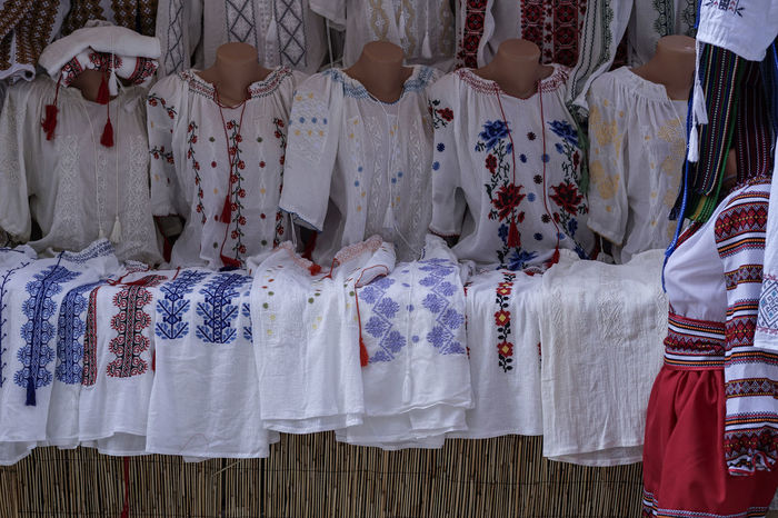 Ie Red Romanian Tradition Shirts Blue Celebration Choice Clothing Day For Sale In A Row Large Group Of Objects No People Retail  Side By Side Textile Traditional Clothing Variation White Color Yellow
