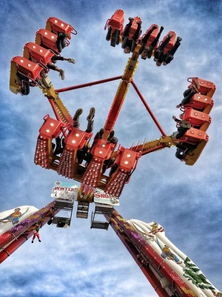 Amusement Park Amusement Park Ride Sky Low Angle View Chain Swing Ride Outdoors Day France 🇫🇷 Barcares Winter Market Noel2016