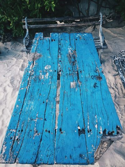 Rustic Table And Bench Beach Blue Wave