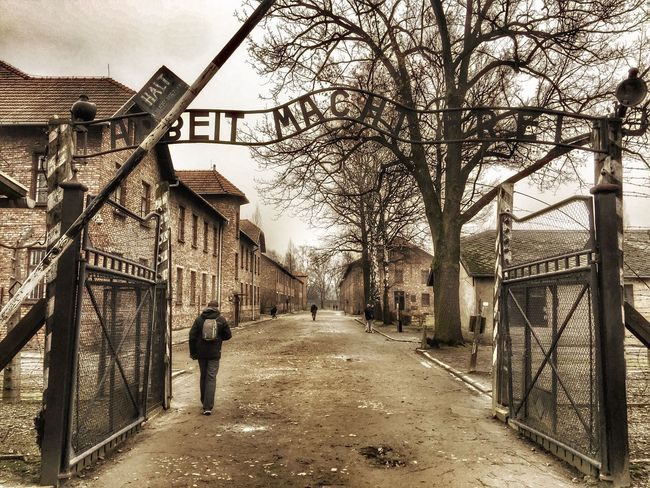 Ingresso Auschwitz 1 - Il lavoro rende liberi Aushwitz Shoah Story Architecture Built Structure Building Exterior Bare Tree House Day The Way Forward Outdoors