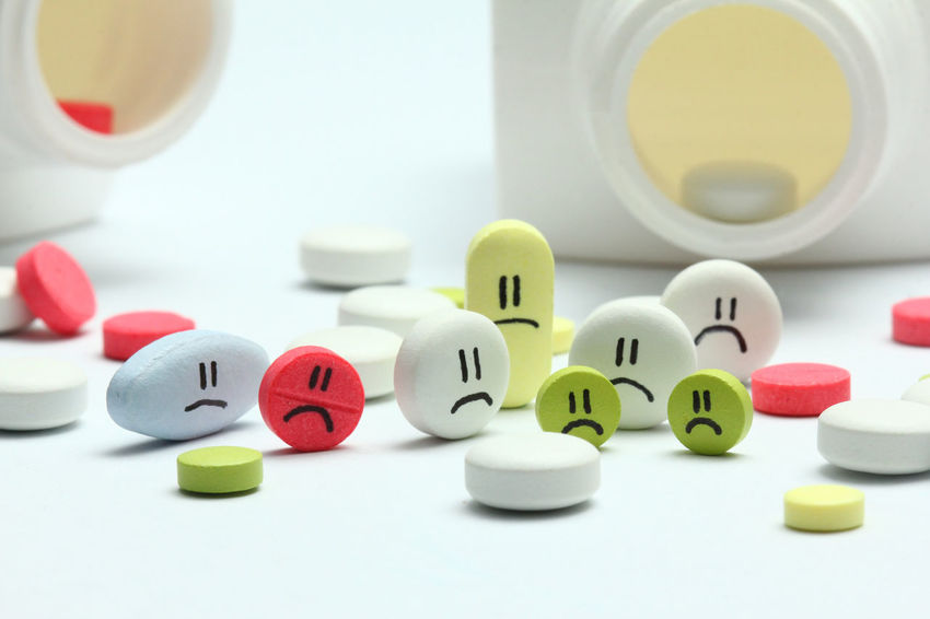Pills and tables with sad faces Bill Clinic Depression Expenses Health Healthcare Hospital Insurance Medical Medicine Pill Protection Sad Tablet
