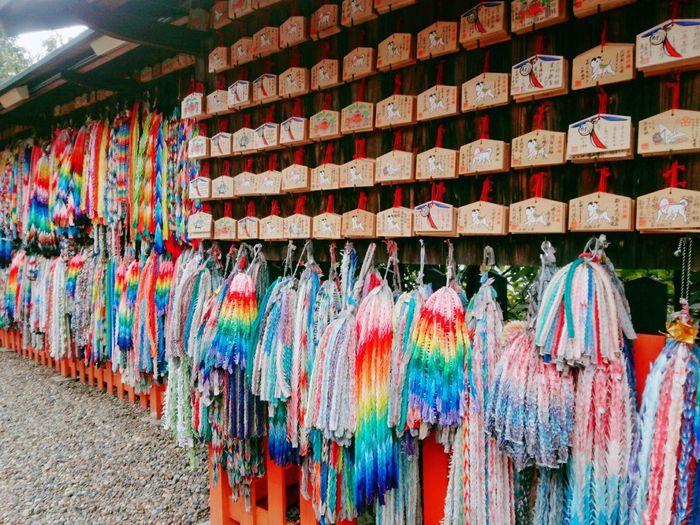 伏見稲荷大社⑤ Oriduru 千羽鶴 Kyoto,japan Fushimi 伏見稲荷大社 Fox Prayer Fulfillment Shrine Multi Colored Hanging Choice Variation Retail  Close-up Kyoto City