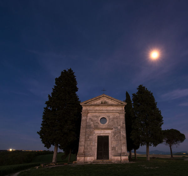 Tuscania, Italy Architecture Belief Building Building Exterior Built Structure History Low Angle View Moonlight Nature Night No People Outdoors Place Of Worship Plant Religion Sky Spirituality The Past Tree