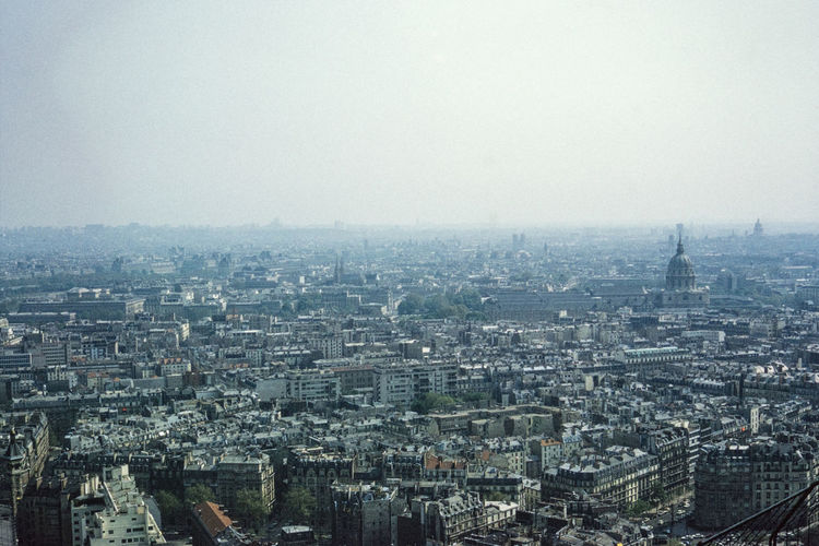 Aerial view of buildings against sky