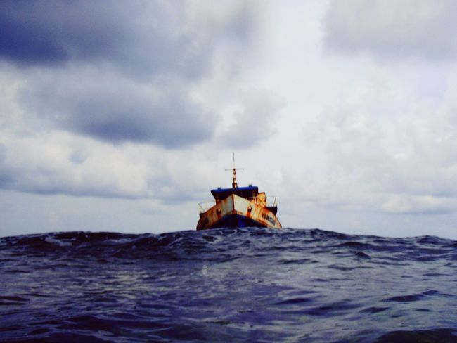 Ship Wrecked Ship Wreck In The Ocean Rotten Remote Location Remote Place