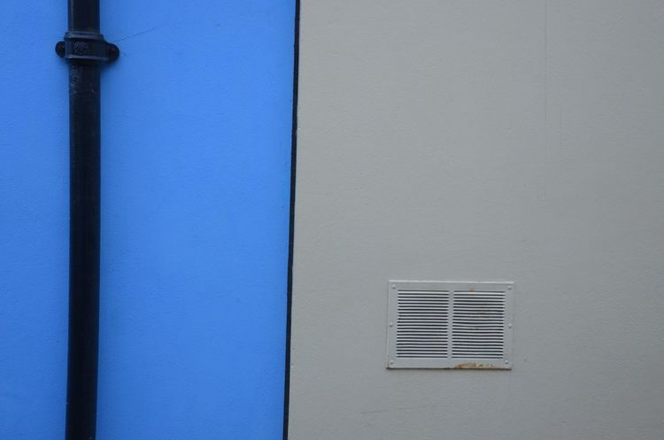 Blue White Bliss Blue Built Structure Building Exterior Architecture No People Electricity  Outdoors Day Close-up Façade Facade Detail Blue White Black Pipe Modern Architecture The Purist (no Edit, No Filter) Art Is Everywhere The Architect - 2017 EyeEm Awards The Graphic City