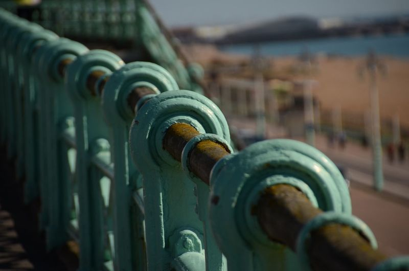 Brighton Brighton Beach Close-up Focus On Foreground Handrail  Metal Metallic Outdoors Part Of Selective Focus Sky Sun And Shadow