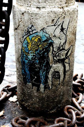 Bollard Road Cat Mother Cat Urban Graffiti Street Art Chain