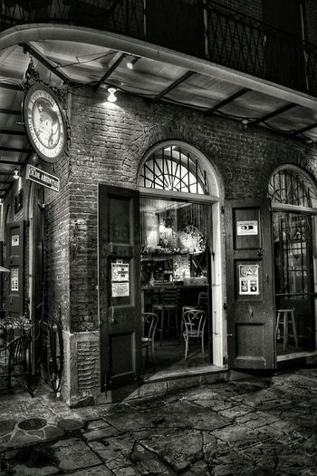 Bar Drinking Establishments Outdoors Vacation Film Photography Bnw_friday_eyeemchallenge Bnw_doors_n_gates Built Structure Entryway Open Door Doorway Entrance Arched Archway Deterioration Adventures In The City Visual Creativity HUAWEI Photo Award: After Dark #urbanana: The Urban Playground