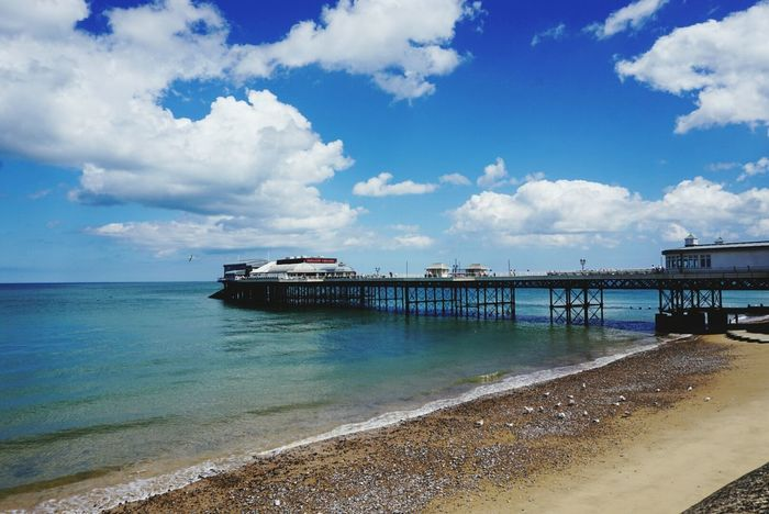 Turquoise Sea Calm Shore Uk Norfolk Cromer Pier View Clear Sky Cloudes Waves Bright