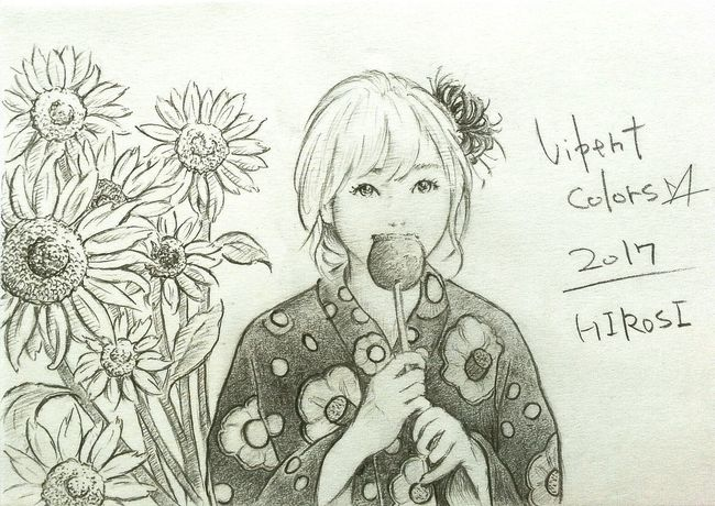 彼岸花 Woman Day Summer Japan 和風 和柄 りんご飴 浴衣 Day Sunflower Flower Art Painter Drawing Sketch Pencil Design Cute Beautiful Portrait Adult Teenager Men Student Science People Human Body Part