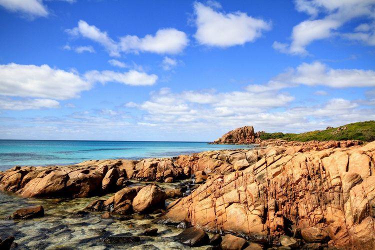 Castle Rock South West Australia Meelup Sea Water Rock - Object Beach Sky Horizon Over Water Cloud - Sky Rock Formation Countryside Coast Rocky Coastline Rock Physical Geography