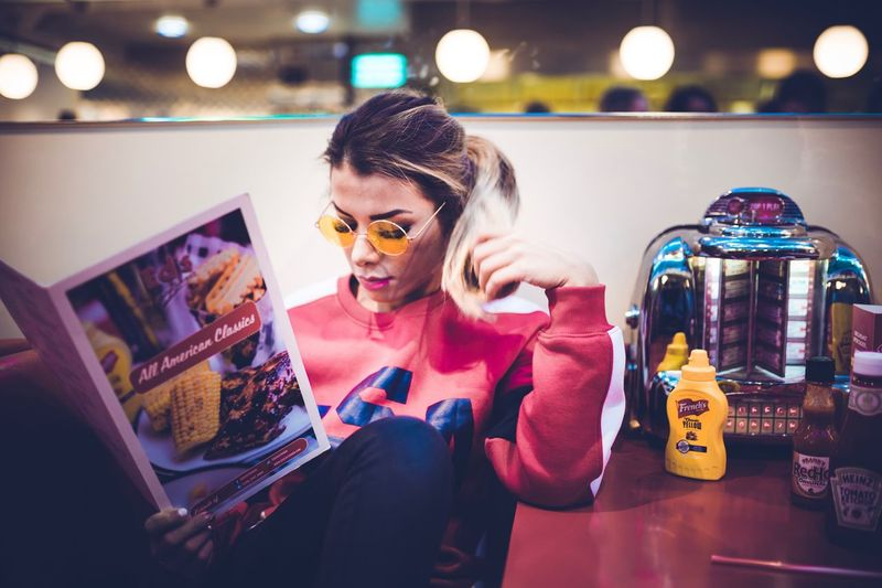 chillin in Ed's II Milkshake Ed's One Person Illuminated Indoors  Young Women Adult Young Adult Lifestyles Women Portrait Fashion Glasses