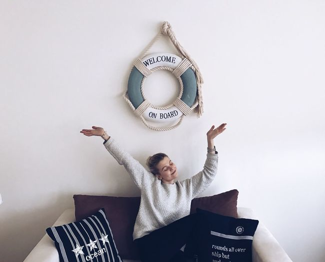 One Person Lifestyles Indoors  Interior Design Girl Young Adult Navy Navy Blue Gdansk Gdansk (Danzig) Poland Pillow Wall White Color White