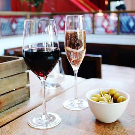Wineglass Wine Red Wine Alcohol Table Drinking Glass Drink Indoors  Day Adult People Adults Only One Person Close-up Olives