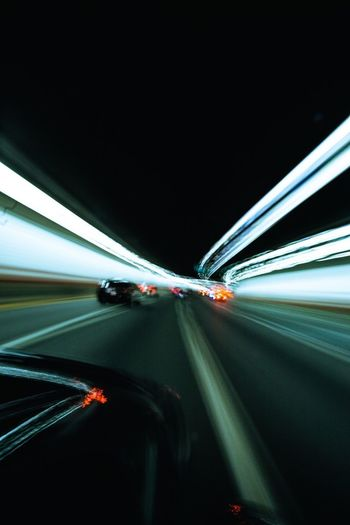 Transportation Car Speed Motion Land Vehicle Blurred Motion Light Trail On The Move Road Mode Of Transport Long Exposure Illuminated Night Traffic Highway Driving Tunnel Journey Car Point Of View Vehicle Light