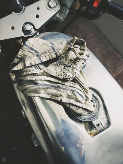 Cafe Racer Special Bike Motorcycle Aluminium Tank Cleaning Equipment Textile High Angle View Close-up