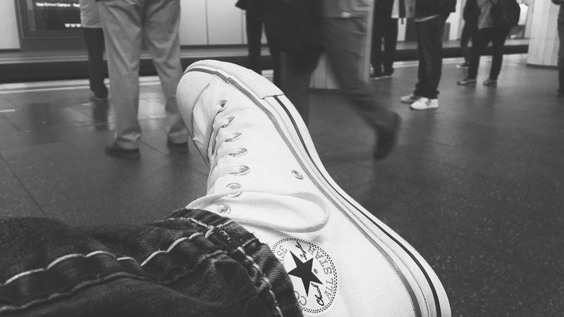 ᵂᴬᴵᵀᴵᴺᴳ Let's Go. Together. Real People Human Leg Indoors  Shoe Human Body Part Casual Clothing Black And White Sitting Day Close-up One Person Adult People Monochrome_Photography Tadaa Community Shootermag Blackandwhite Photography Blackandwhite Monochrome Photography Black & White Monochromatic Monochrome Streetphotography Travel Destinations