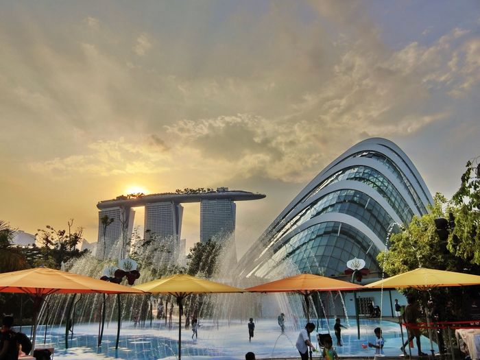 Infinity Pool At Marina Bay Sands Hotel During Sunset