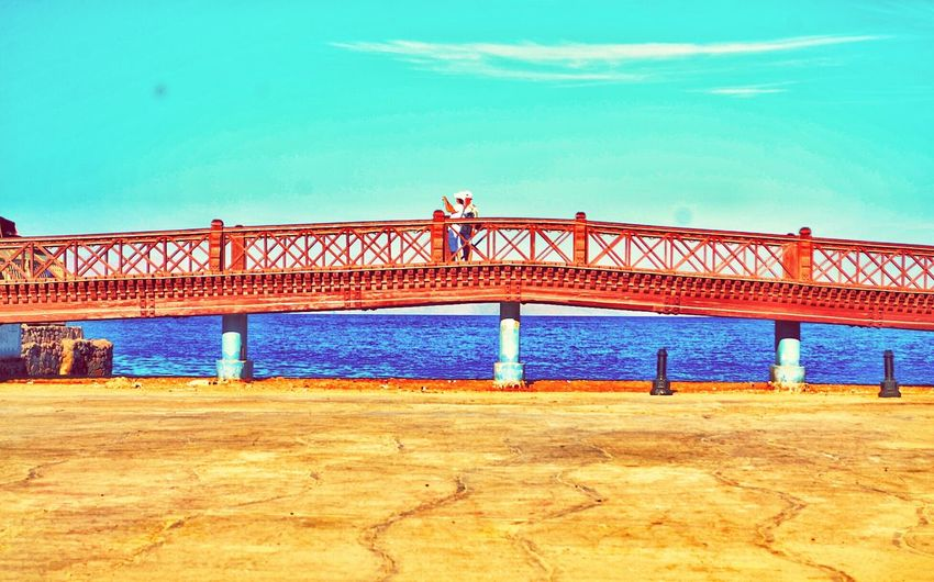 Water Bridge - Man Made Structure Dahab Saini Blue Transportation Sky Connection Architecture Sea Outdoors Day Beach Mountain Horizon Over Water Sand Scenics Photographer Beauty In Nature Backgrounds Nature Vacations This Is Egypt ❤ Egyptphotography Travel Egyptian Art