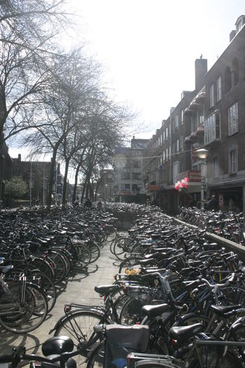 Bicycle parked in city against sky