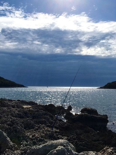 Sea Cloud - Sky Nature Beauty In Nature Water Sky Scenics Tranquil Scene Horizon Over Water Tranquility Outdoors Day No People Fishing Pole Rockfishing Market Fishing