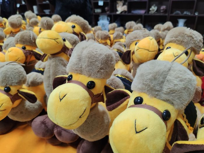 Close-up of yellow stuffed toys