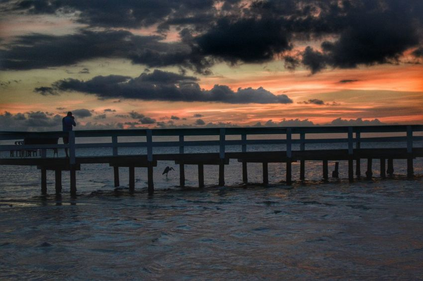 Taking Photos Photography Wildlife & Nature Pier Sunset Digitalu Point Of View Clouds And Sky United States Florida EyeEm Nature Lover The KIOMI Collection Nature Landscape Outdoors Sky And Clouds One Person Hidden Gems  Beauty In Nature Swflorida Bokeelia Swfl 43 Golden Moments Seascape Coastline
