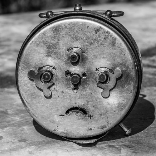 sad face Alarm Clock AlarmClock Backside Blackandwhite Photography Day Face Metal No People Sad Single Object StillLifePhotography