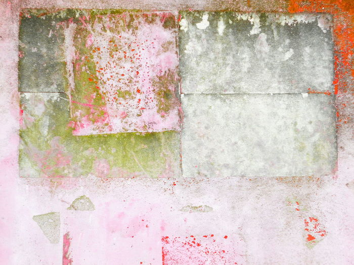 Moulded and scratched multicoloured concrete wall background Abstract ArchiTexture Art And Craft Backgrounds Bad Condition Concrete Weathered Wall Design Deterioration Dirty Full Frame Geometry Green Moulded Obsolete Old Pattern Pinkish Red Rusty Scratched And Cracked Plaster Shades Of Grey Stains And Cracks Textured  Textures And Surfaces Wall
