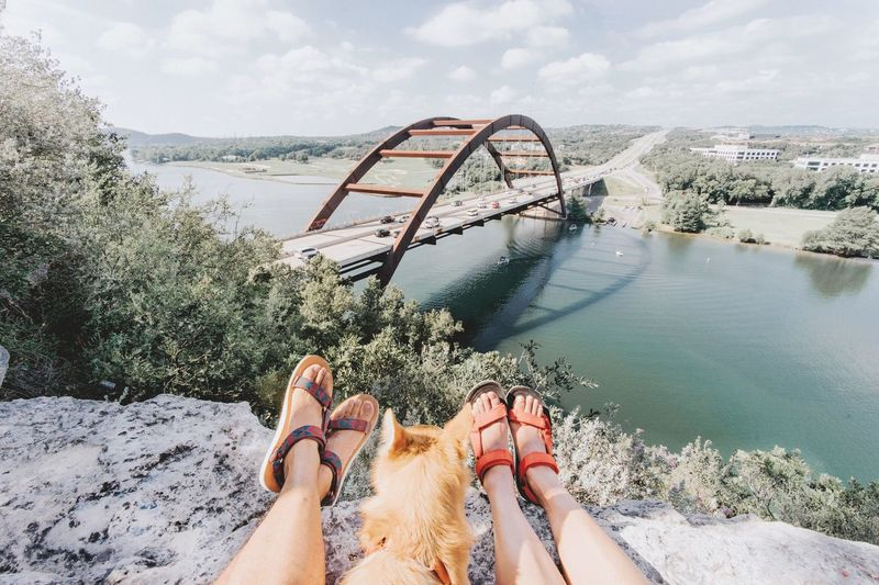 Mini hike overlooking pennybacker bridge. Bridge Over Water Bridge View Bridge Over The River Landscape Photography Greenery Spring Time Summer Views Hiking Shoes Travelers Travel Photography Travel Destinations Adventure Time Adventure Buddies Hiking Adventures Hiking Trail Dog Shiba Inu Hike Cityscape Nature Lover Lake View Pennybackerbridge Austin, TX Human Leg Personal Perspective Real People Leisure Activity Day Outdoors One Animal
