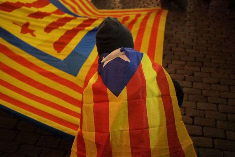 Catalan independence flag waving during a demonstration in the streets of Brussels Barcelona Catalan Catalogne Catalonia Catalonia Is Not Spain Catalonia, Europe's Next State Catalunya Claim Freedom Independence Spanish Banner Cataluña Crowd Demonstration Demonstrators Europe Independent  People Policy Political Politics And Government Protesting Rally Referendum EyeEm Ready