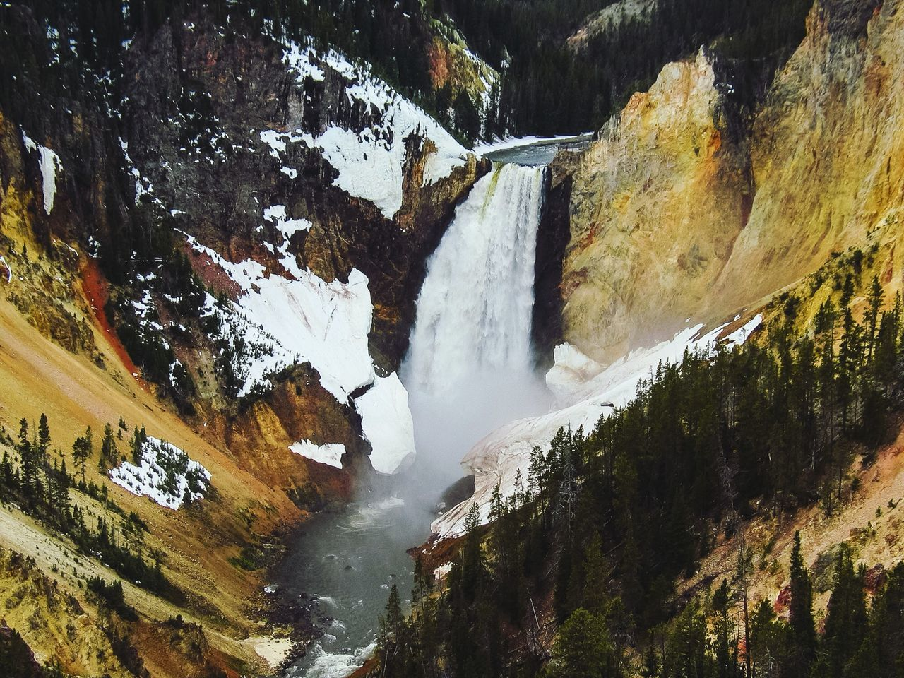 Scenic view of waterfall at yellowstone national park