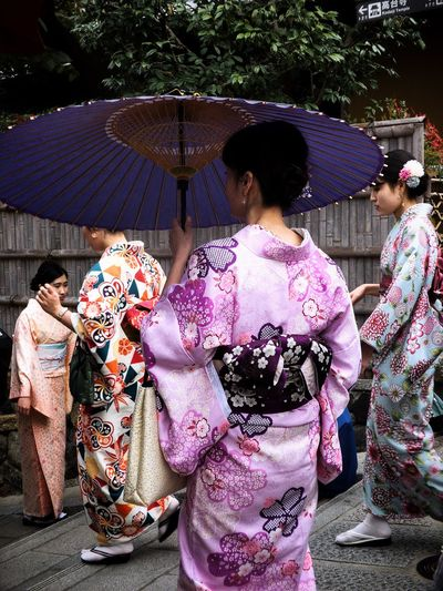 Ladies in Yukata at the street of Gion, Kyoto Gion Kyoto Real People Group Of People Women Adult Lifestyles Rear View Leisure Activity Traditional Clothing Clothing Kimono